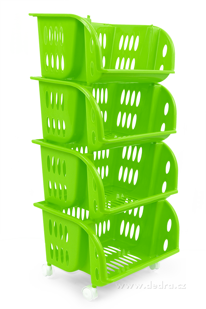 Fürdőszoba  Műanyag tároló polc 4 szintes - zöld  Dedrashop