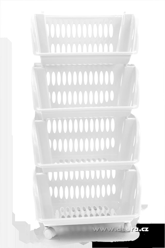 Fürdőszoba  Műanyag tároló polc 4 szintes - fehér  Dedrashop