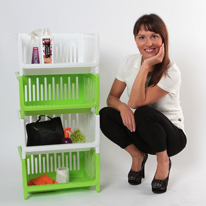 Fürdőszoba  Műanyag tároló polc - fehér  Dedrashop